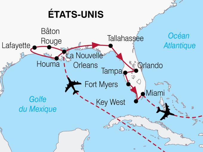 CARTE USA Lousiane Floride  shhiver 814225