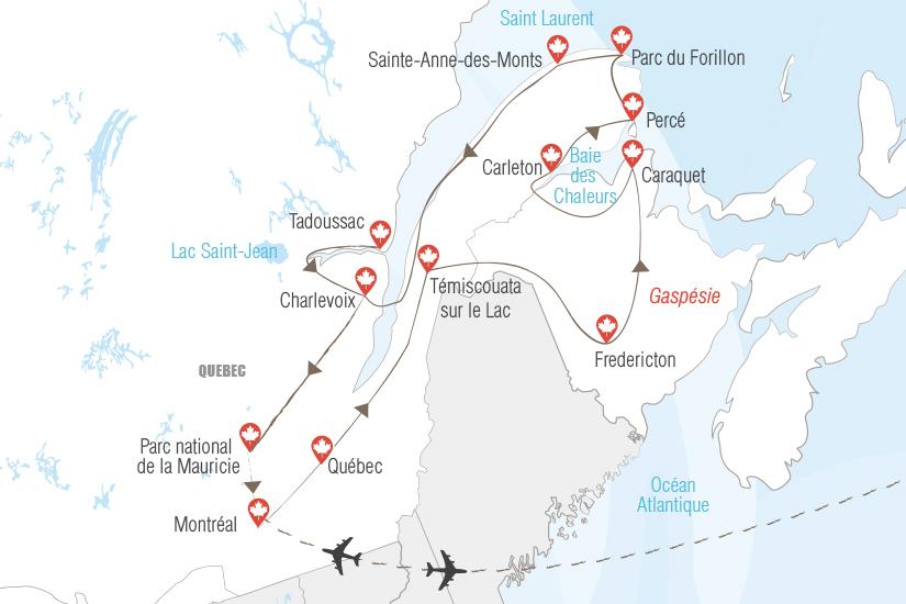 carte Canada Quebec Gaspesie et Acadie le charme maritime Hugh 20_333 881953