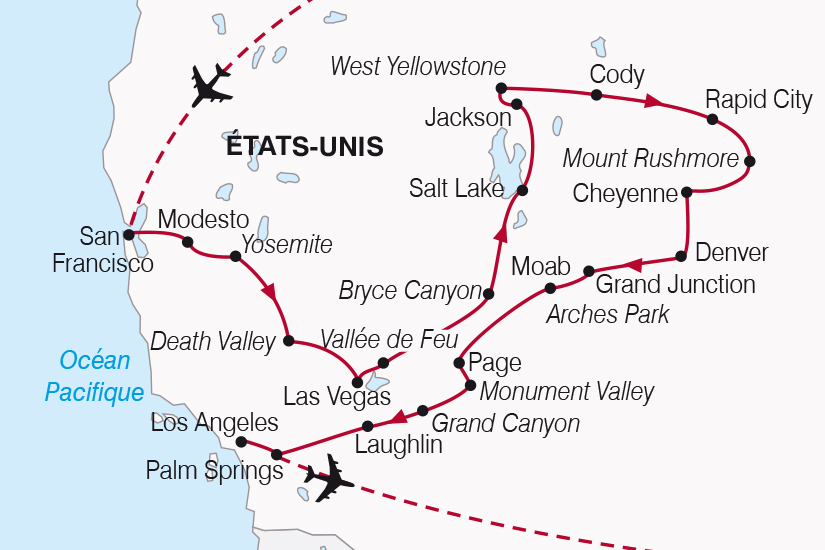 carte Etats Unis Splendeurs de l Ouest Americain SH19 20_319 307835