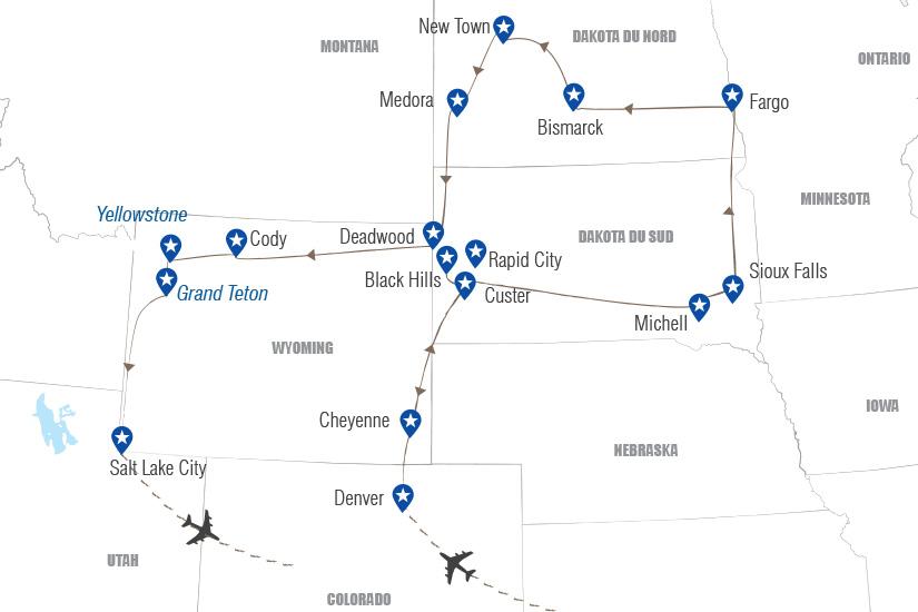carte Etats Unis Sur les traces des pionniers dans le Great American West Hugh 21 22_364 478471