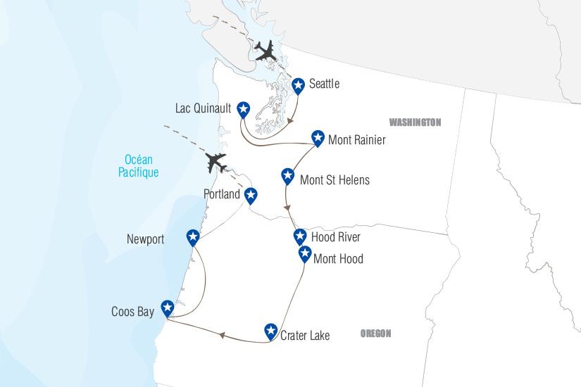 carte Etats de Washington et Oregon Merveilles du Pacifique Hugh 19_282 122445