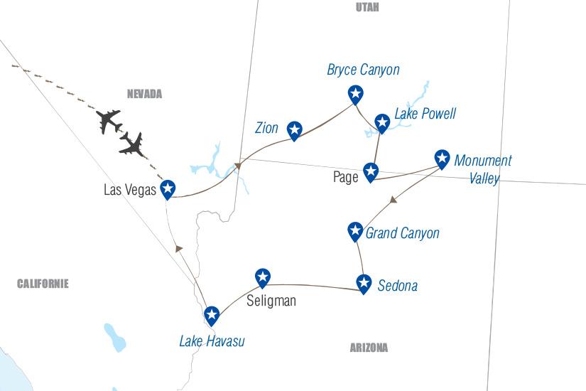 carte Las Vegas les parcs et la Route 66 Hugh 19_282 504694