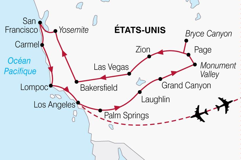 carte USA Californie Ouest Americain 421833