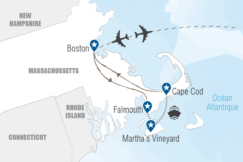carte USA Evasion a Boston et Cape Cod Hugh 20_333 183510
