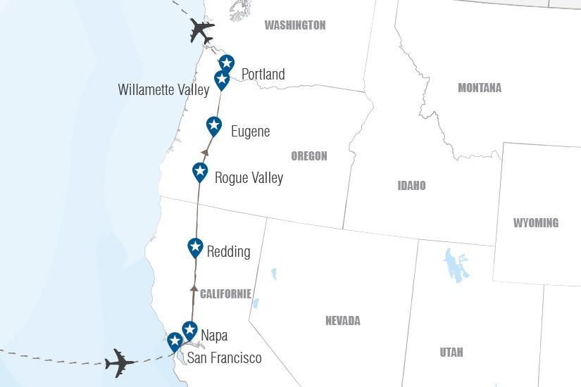 carte USA La route des vins du Pacifique Hugh 20_333 230835