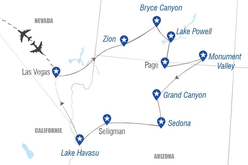 carte USA Las Vegas les parcs et la Route 66 Hugh 20_333 718630