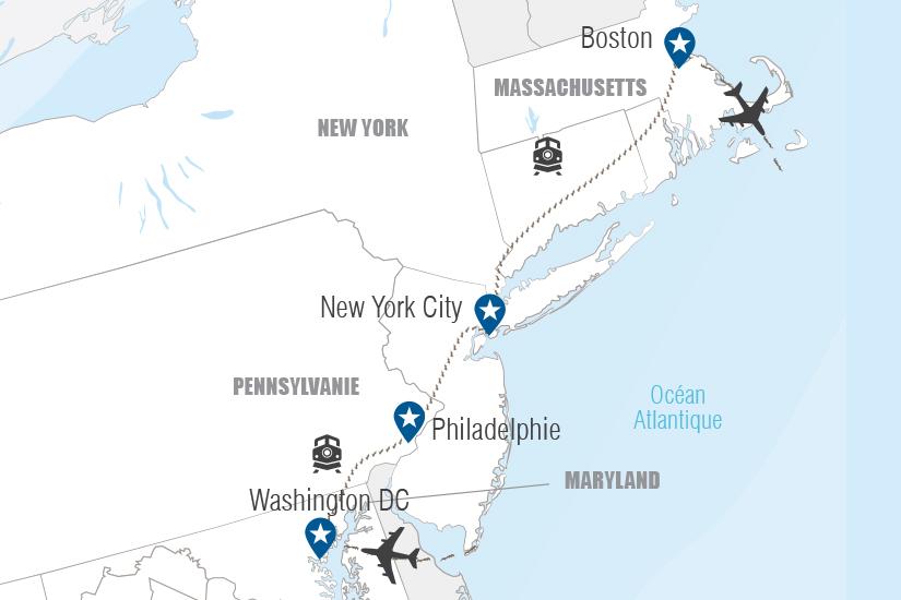 carte USA Les capitales de l Est en train Hugh 20_333 688305
