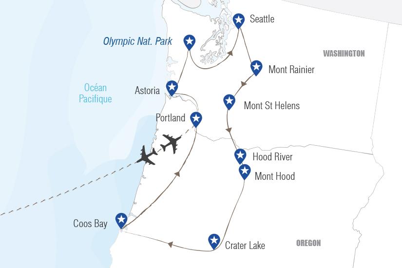 carte USA Merveilles du Nord Ouest Pacifique Hugh 20_333 305477