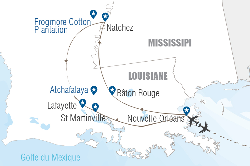carte USA Routes et bayous de Louisiane Hugh 20_333 159015