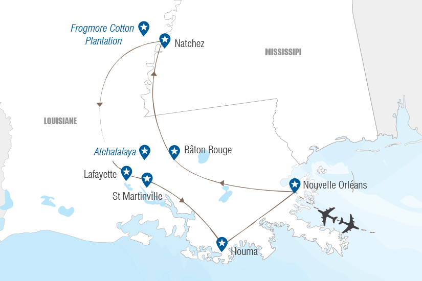 carte routes et bayous de louisiane_232 877532